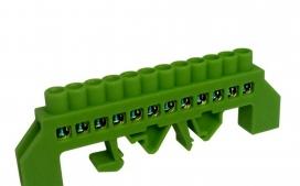 Barramento de Distribui��o HC-008 Terra (Verde) com 12 Liga��es - 80A - C/ Prote��o (cabo 10mm) - Fixa��o por Trilho DIN e Parafuso