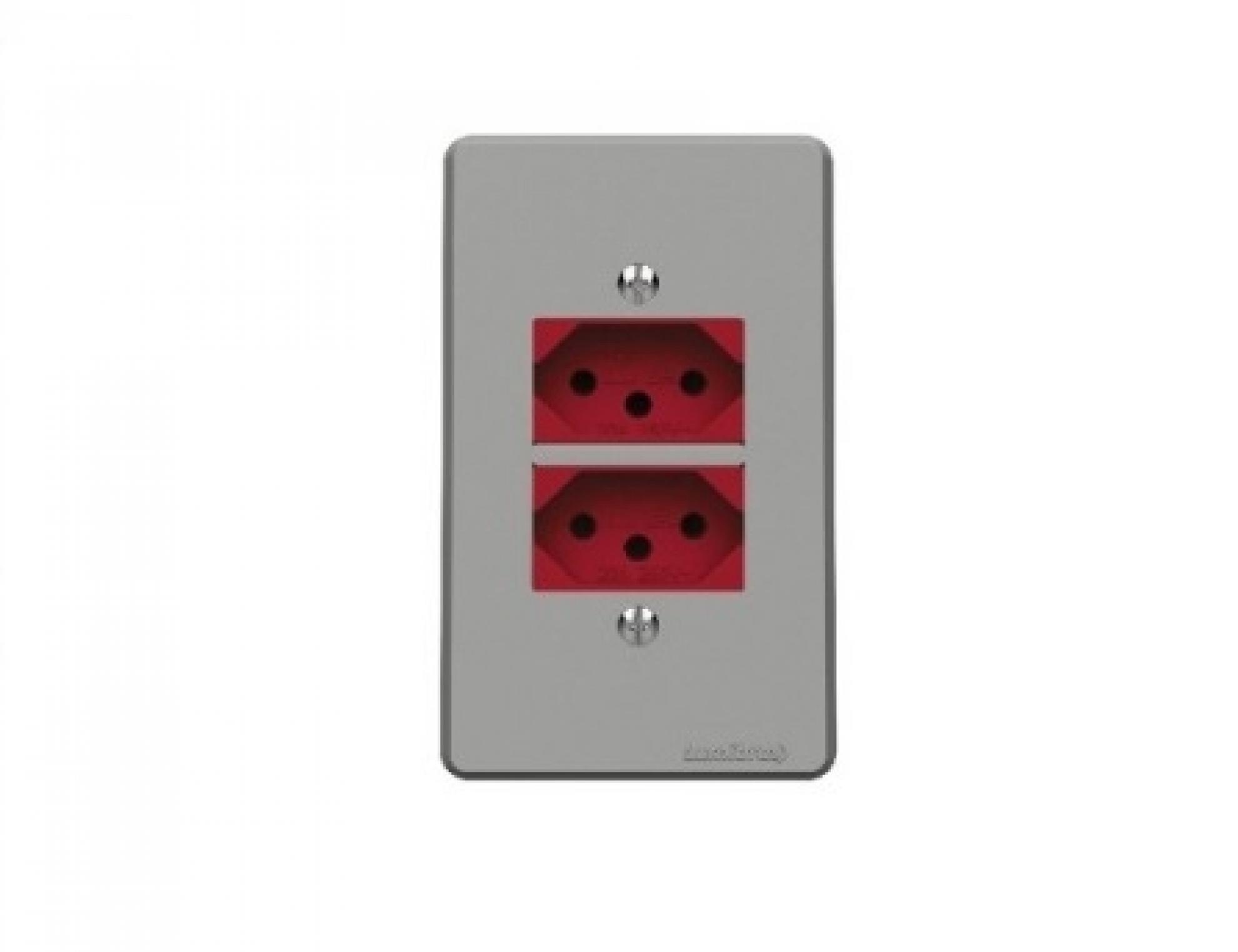 Tomada Horizontal 2P+T 20A  250V~ Vermelha
