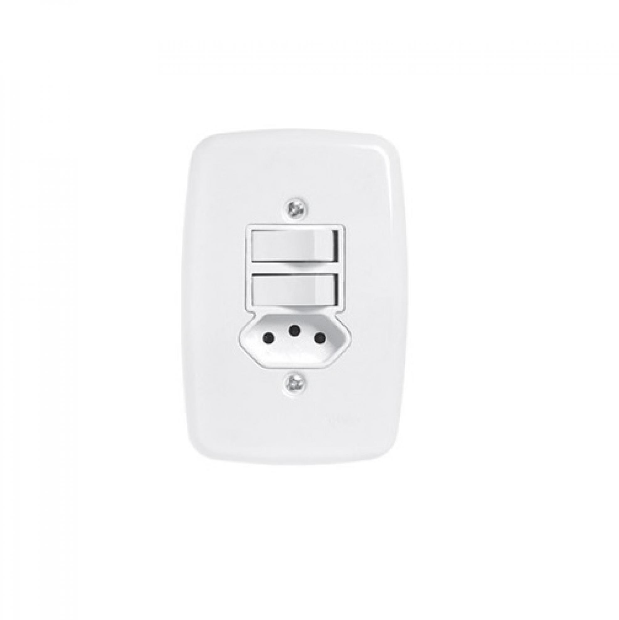 Interruptor de 2 tecla com tomada 4x2- Simples