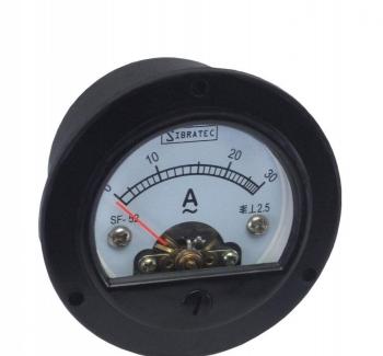 Amper�metro Anal�gico 52mm Redondo Medi��o Direta 50A