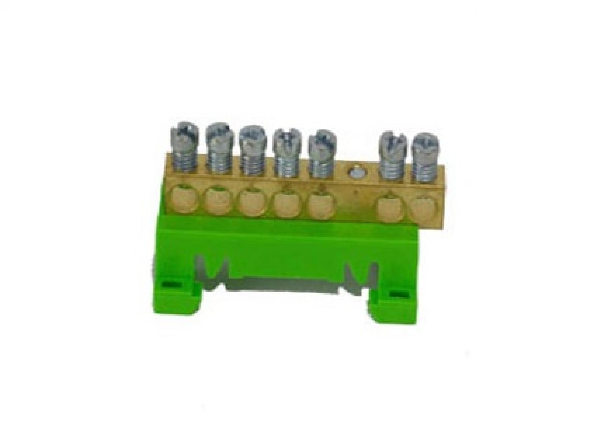 Barramento 7 furos com suporte - Verde
