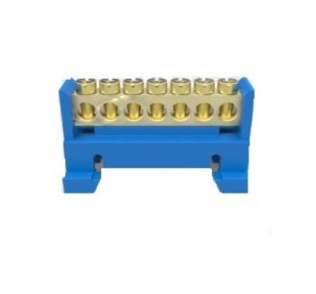Barramento 7 furos com suporte - Azul