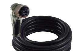 Cabo para Sensor com conector M12 com 4 fios e Led para Sensor NPN (LM12, LM18 e LM30) - 3 Metros - 24Awg - Curva 90