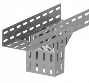 T� vertical descida lateral perfurado 100x50 - Zincado
