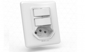 Interruptor com 2 teclas com tomada -Simples branco