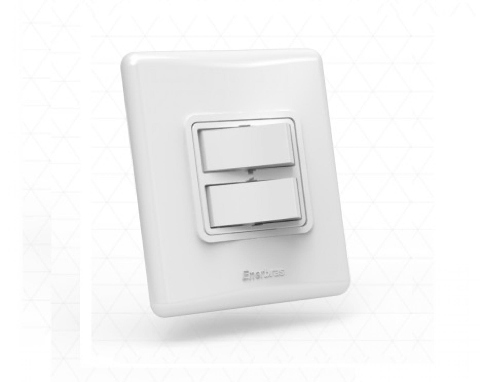Interruptor com 2 teclas -  Simples branco