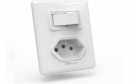 Interruptor com 1 tecla com tomada - Simples branco