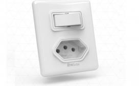 Interruptor com 1 tecla com tomada - Paralelo branco