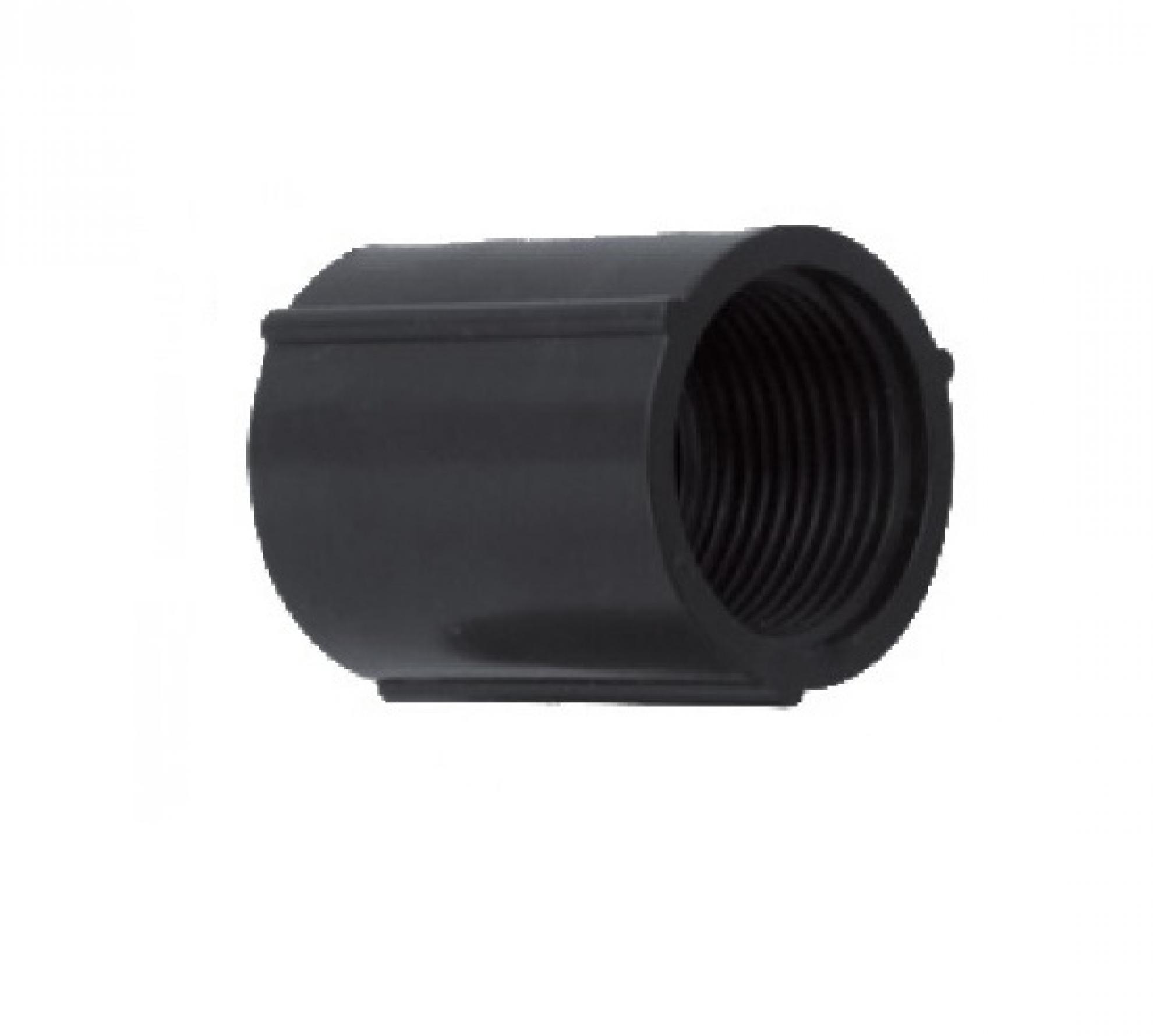 """Luva PVC 1.1/2"""" polegada rosqueavel - Preto"""