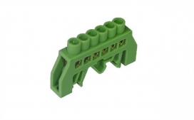 Barramento 6 Furos - Com suporte DIN Verde