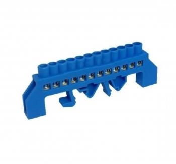 Barramento de Distribui��o HC-008 Neutro (Azul) com 12 Liga��es - 80A - C/ Prote��o (cabo 10mm) - Fixa��o por Trilho DIN e Parafuso